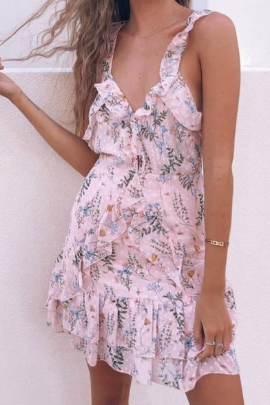 Pink Cute Girls' Sleeveless Deep V-Neck Floral Print Ruffled Trim Tiered Short A-Line Cami Dress for Beach