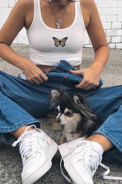 Plain Basic Sleeveless Butterfly Patterned Knit Slim Fit Crop Tank Top for Women