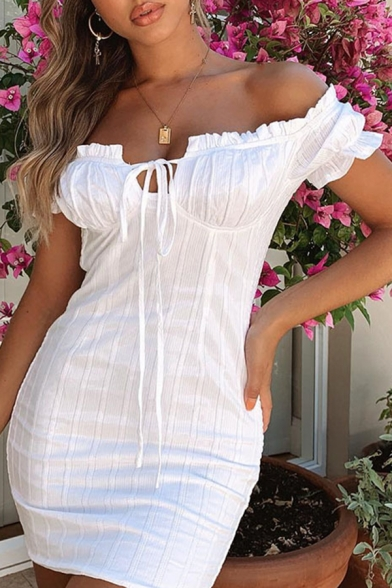 Plain White Stringy Selvedge Embellished Off Shoulder Tied Front Short Sleeve Fitted Mini Dress LM569248 фото