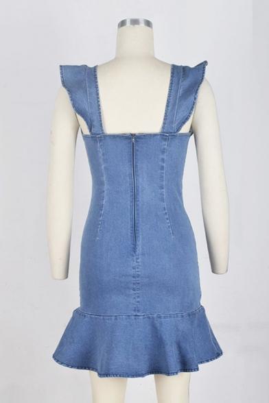 Stylish Girls' Sleeveless Round Neck Ruffled Trim Zipper Back Short Tight A-Line Denim Dress in Blue