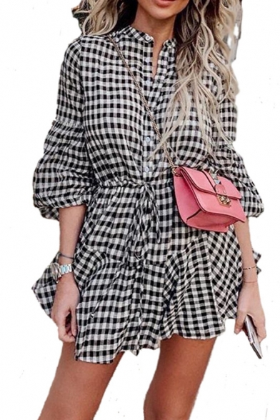 Trendy Ladies' Blouson Sleeve V-Neck Button Down Bow Tied Pleated A-Line Short Shirt Dress