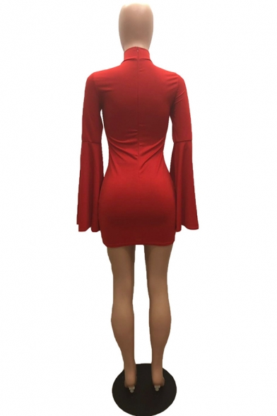 Unique Sexy Girls' Detached Sleeve High Neck Mini Prom Gown Tight Dress in Red