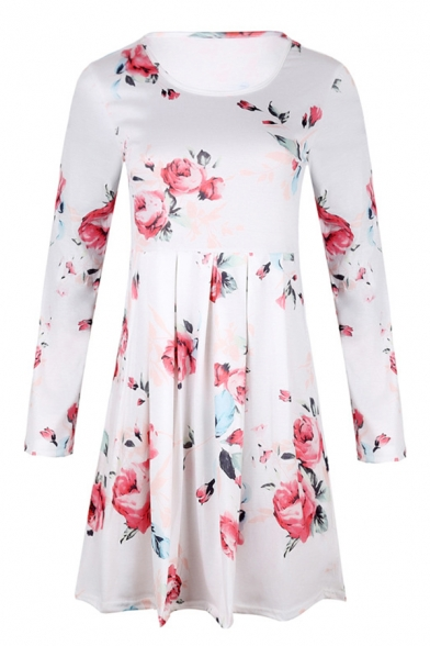 Women's Long Sleeve Round Neck Floral Patterned Pleated Short Swing Dress