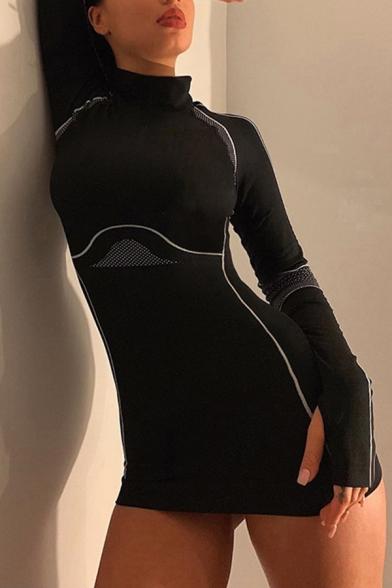 Womens Black Chic Polka Dot Stripe Printed Long Sleeve High Collar Mini Casual Bodycon Dress