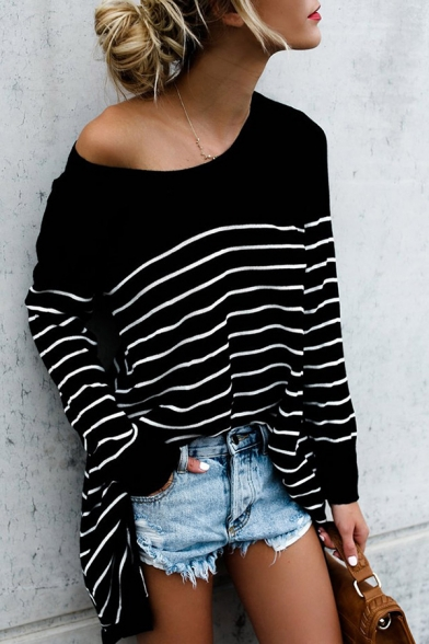 Womens Casual Black Pinstripes Print Long Sleeve Boat Neck Tunic Oversized Tee Top