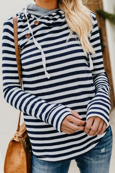 Womens Classic Stripe Printed Cowl Neck Oblique Button Embellished Long Sleeve Slim Fit Daily Wear Hoodie