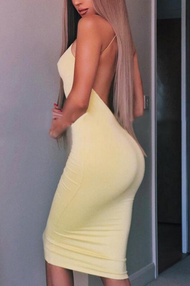 Womens Elegant Party Wear Plain Spaghetti Straps Open Back Midi Fitted Cami Dress