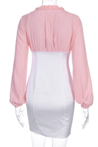 Womens Fashion Colorblocked V-Neck Lantern Long Sleeve Zip Placket Mini Fitted Dress for Club