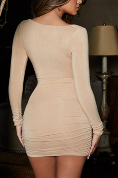 Womens Sexy Plain Twisted Front Cutout Long Sleeve Mini Bodycon Party Dress