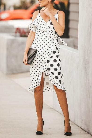 Fashion Girls' Sleeveless Surplice Neck Polka Dot Patched Ruffled Trim Bow Tied Waist Slit Front Midi Sheath Wrap Cami Dress in White, LM574296