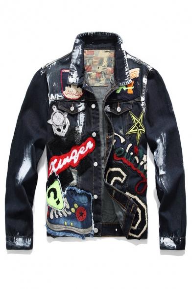 Hip Hop Stylish Girl Letter Skull Paint Flag Applique Sequins Printed Single Breasted Denim Jacket for Men
