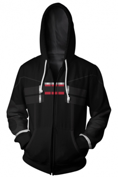 Hot Popular Game Cosplay 3D Printed Long Sleeve Zip Up Black Hoodie