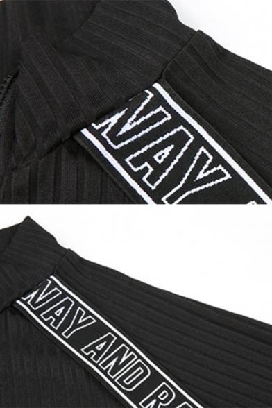 Ladies Black Funny Letter Ribbon Splicing Long Sleeve Half Zip Placket Mini Knit Sheath Dress
