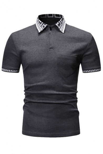 Mens Active Contrast Collar Short Sleeve Golf Tennis Classic Fit Polo Shirt