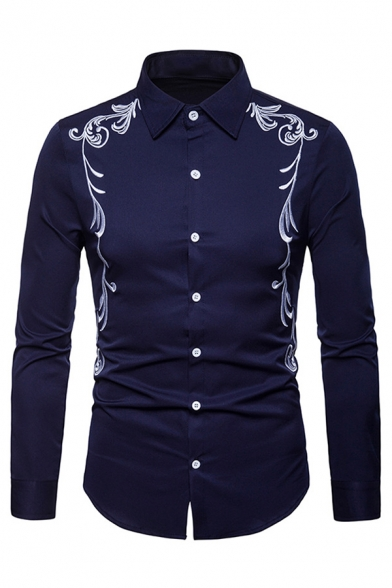 Mens Chic Embroidery Printed Long Sleeve Button Front Vintage Shirt