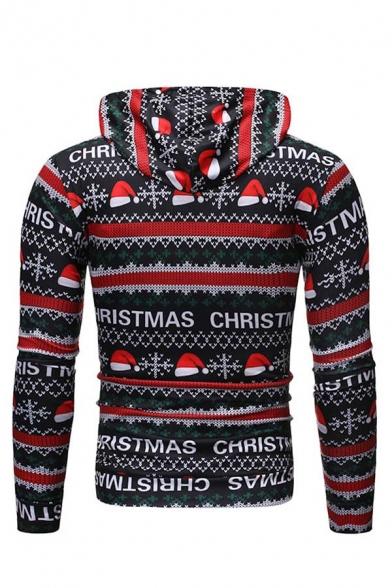 Mens Popular Christmas Hat Letter Print Long Sleeve Fitted Black Drawstring Hoodie