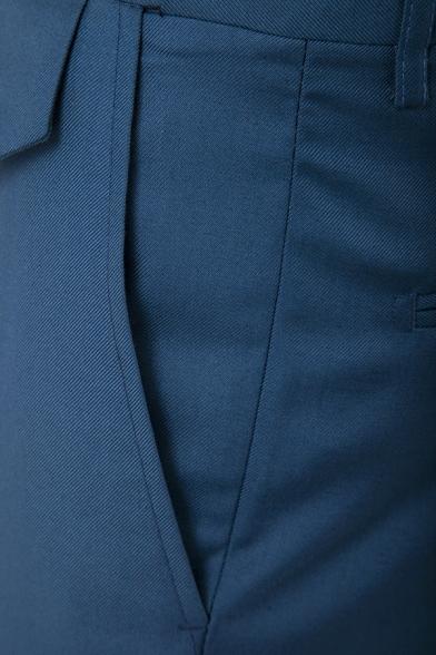 Mens Popular Solid Color Zip Front Slim Business Suit Pants Dress Pants