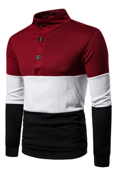 Mens Simple Color Block Long Sleeve Button Down Leisure Knitted Polo Sweater