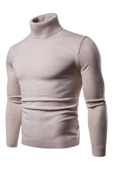 Mens Simple Plain Roll Neck Long Sleeve Slim Fit Pullover Sweater