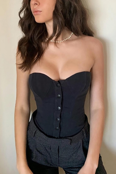 Sexy Edgy Looks Sleeveless Strapless Button Down Slim Fit Plain Crop Corset for Female