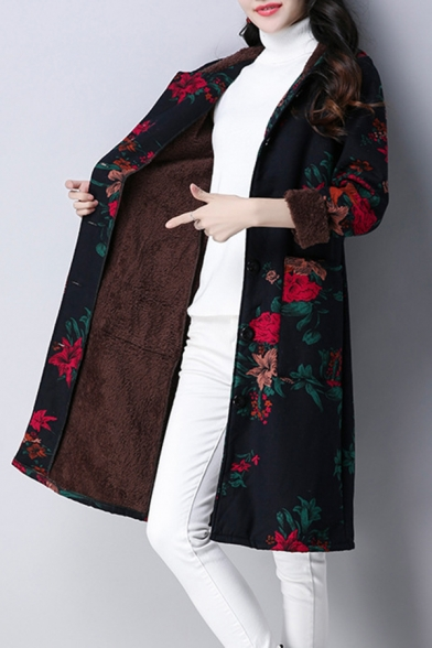 Stylish Floral Printed Long Sleeve Single Breasted Tribal Style Tunic Wool Coat