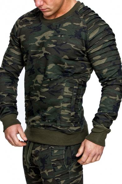 Trendy Camo Print Pleated Detail Long Sleeve Round Neck Plain Slim Pullover Sweatshirt with Pocket