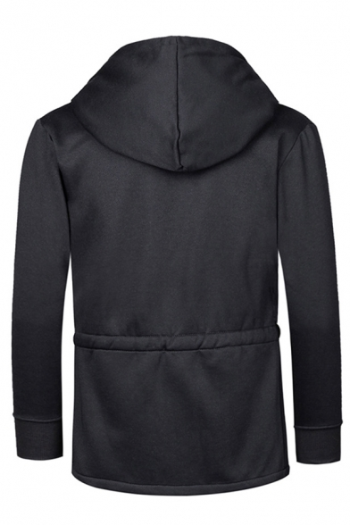 Unique Drawstring Waist Long Sleeve Open Front Solid Color Black Loose Pullover Hoodie