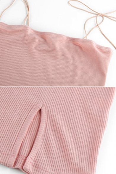 Womens Casual Plain Self Tied Spaghetti Straps Split Side Fitted Mini Clubwear Cami Dress