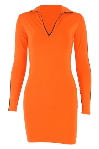 Womens Casual Striped Long Sleeve Half Zip Placket Slim Fit Sportive Mini Dress in Orange
