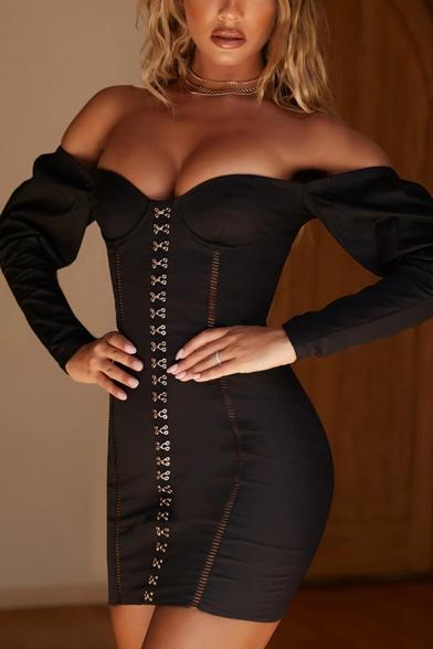 Womens Elegant Plain Off Shoulder Long Sleeve Metal Double-Breasted Mini Sheath Party Dress