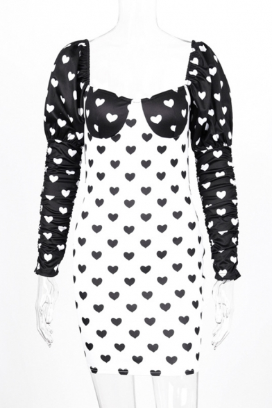 Womens Fashionable Allover Heart Pattern Color Block Puff Sleeve Backless Black and White Mini Sweetheart Dress for Club