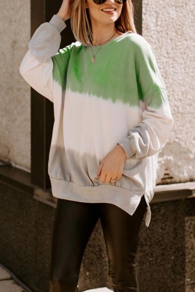 Womens Fashionable Color Block Long Sleeve Side Split Loose Fit Tunic Pullover Sweatshirt