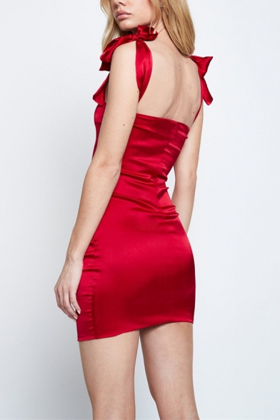 Womens Plain Burgundy Satin Bow Straps Sexy Fitted Mini Bodycon Dress for Party