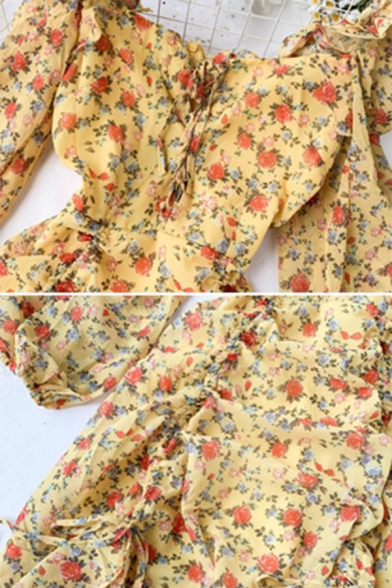 Womens Retro Floral Print Lantern Sleeve Lace Up Front Drawstring Ruched Yellow Mini Dress