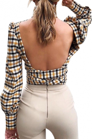 Yellow Checked Pattern High Collar Puff-Sleeve Keyhole Front Backless Tied Hem Slim Fitted Short Top