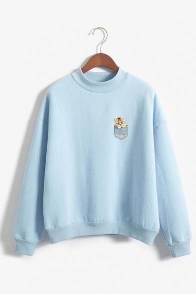 Cute Pocket Cat Printed Mock Neck Long Sleeve Oversized Pullover Sweatshirt, Blue;pink;red;gray;khaki;navy, LC570413