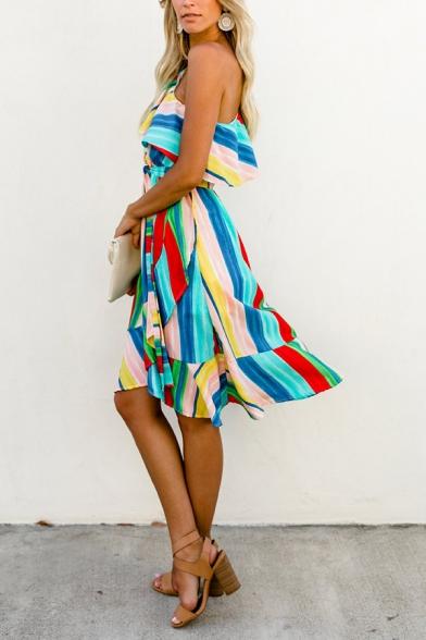 Fancy Elegant Ladies' Sleeveless One Shoulder Stripe Print Ruffled Trim Tied Waist Midi Wrap Flowy Dress
