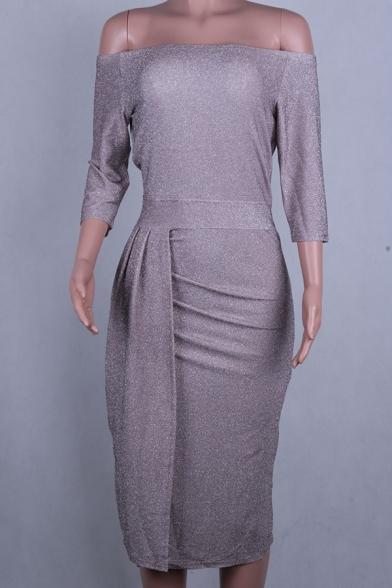 Formal Dressy Three-Quarter Sleeve Off The Shoulder High Slit Side Plain Midi Sheath Dinner Dress for Female