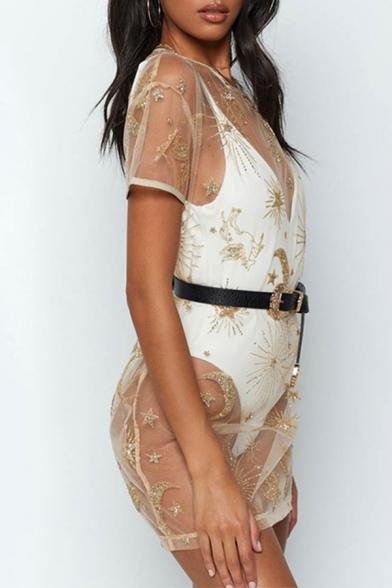Funny Khaki Sequined Moon Stars Pattern Short Sleeve Mini Sheer Mesh T-Shirt Dress for Nightclub