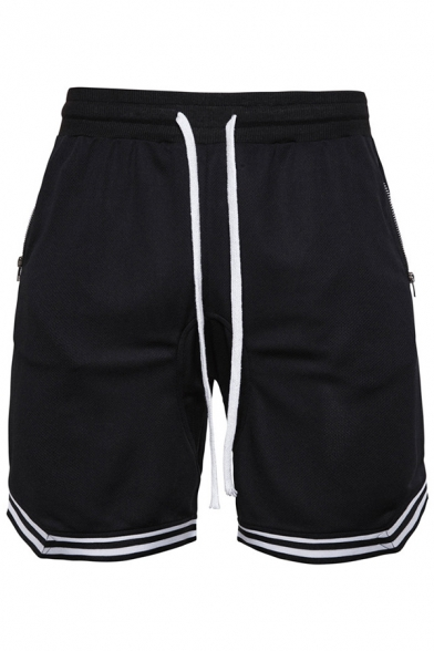Mens Active Drawstring Waist Zipper Pocket Striped Trim Flat Front Shorts