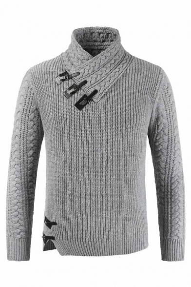 Mens Designer Leather Buckle Embellished Shawl Neck Cable Knitted Chunky Fitted Plain Sweater