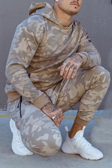 Mens Leisure Camouflage Printed Long Sleeve Slim Fit Pullover Hoodie
