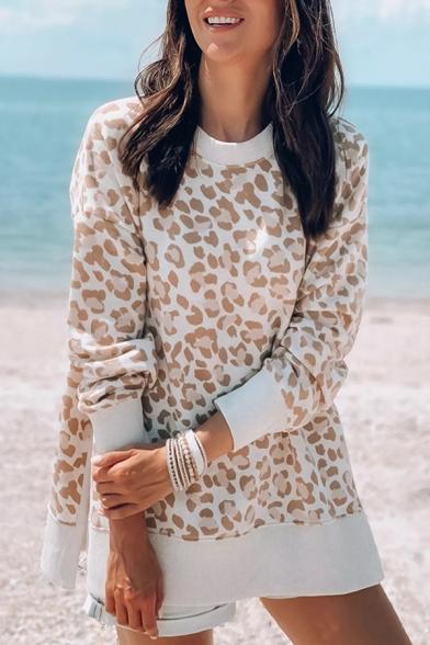 New Arrival Khaki Leopard Printed Long Sleeve Side Split Oversized Pullover Sweatshirt