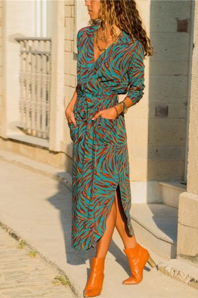Pretty Ladies' Long Sleeve V-Neck Floral Pattern Bow-Tied Slit Side Asymmetric Long Sheath Shirt Dress, Black;green;sky blue, LM573624