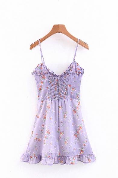 Purple Unique Floral Printed Lace Up Detail Ruched Zip Back Vintage Midi A-Line Cami Dress
