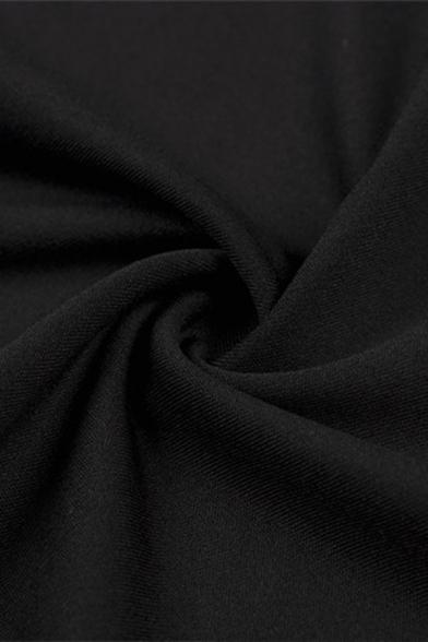 Summer Fashion Spaghetti Straps Split Side Black Plain Fitted Mini Overall Dress for Women