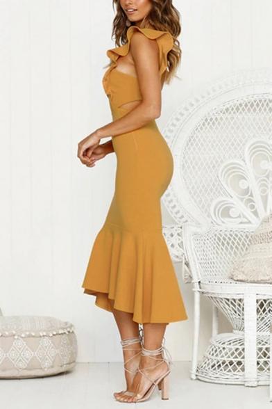 Women's Esteemed Plain Sleeveless Round Neck Ruffled Trim Hollow Back Long Bodycon Fishtail Dress for Celebrity