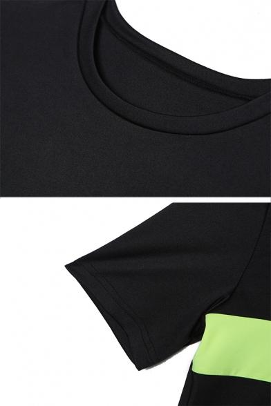 Womens Cool Fluorescent Stripe Splicing Round Neck Short Sleeve Black Mini Fitted T-Shirt Dress