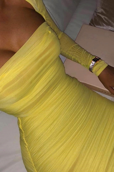 Womens Elegant Solid Color Yellow Square Neck Long Sleeve Ruched Detail Mini Fitted Tulle Dress