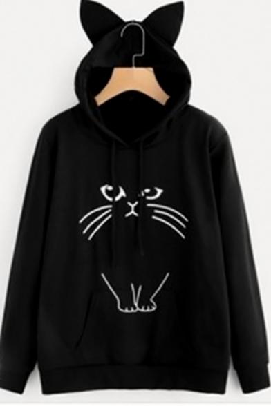Womens Simple Cartoon Cat Ear Long Sleeve Loose Pullover Hoodie
